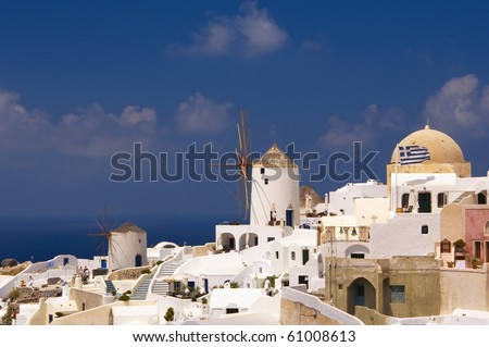 Greek island Santorini with its white and blue - stock photo