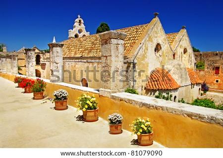 Greek monastery -Arkadi - stock photo