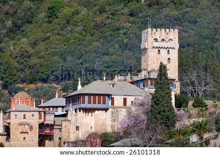 Greek Monastery on Mount Athos, Chalkidiki, Greece - stock photo
