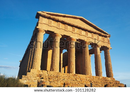 Greek monument at sunset - stock photo