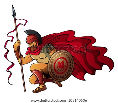 Greek or Spartan warrior holding spear and shield, raster from vector illustration - stock photo