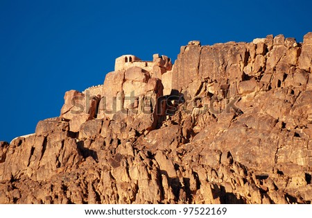 Greek orthodox chapel on mount sinai / moses mountain at 2285m in Egypt