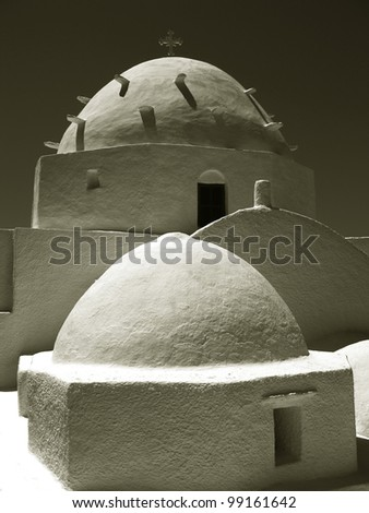 Greek orthodox church in an island in Greece - stock photo