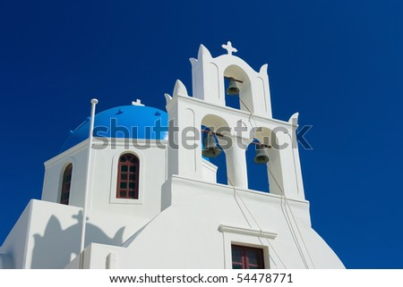 Greek orthodox church in Santorini, Greece - stock photo