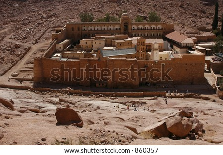 Greek Orthodox monastery of St. Catherine at the foot of Mount Sinai (2285 m), Egypt. - stock photo
