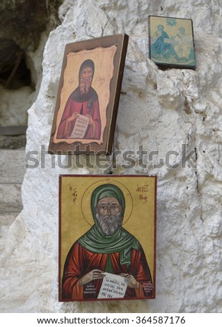 Greek Orthodox Religious Icons Outside a chapel in Crete - stock photo