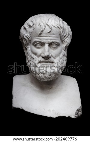 Greek Philosopher Aristotle Sculpture Isolated on Black Background - stock photo