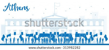 Greek protesting in front of the Greek Parliament in Athens,Greece - stock photo