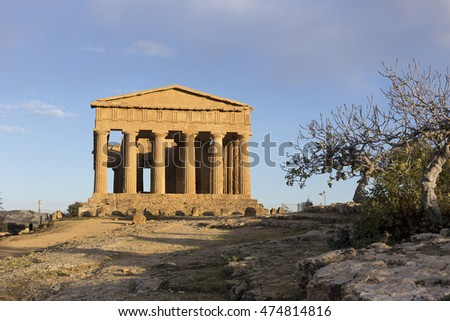 Greek ruins of Temple in the Valley of Temples near Agrigento, Sicily