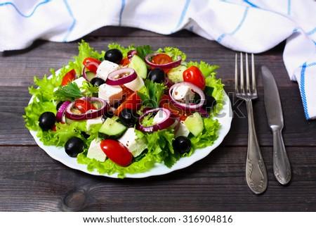 Greek salad - stock photo