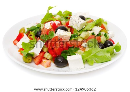 Greek Salad - Feta Cheese, Olive and Vegetables, isolated on white - stock photo