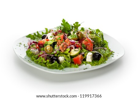 Greek Salad - Feta Cheese, Tomatoes, Salad Leaves,  Olive and Vegetables - stock photo