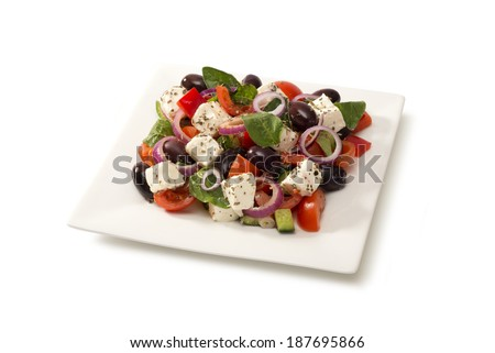 greek salad in a salad bowl - stock photo