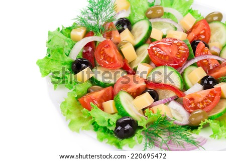 Greek salad. Isolated on a white background.