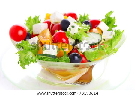 Greek salad on white isolated background