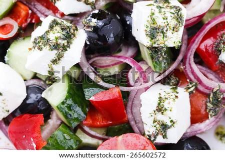 Greek salad.selective focus - stock photo