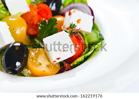 Greek salad with tomatoes cherry, close up