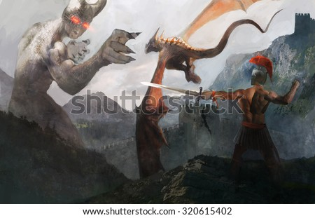 Greek solder and dragon attacking titan