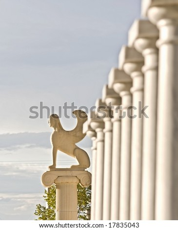 Greek statue showing the mythical Sphinx - stock photo