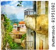 Greek streets and monasteries-artwork in painting style - stock photo