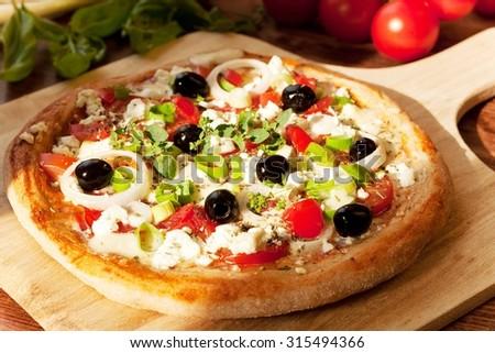 Greek Style Pizza/ Fresh Homemade Pizza - stock photo