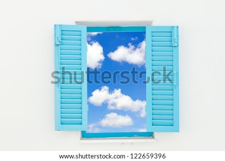 Greek Style windows with blue sky - stock photo