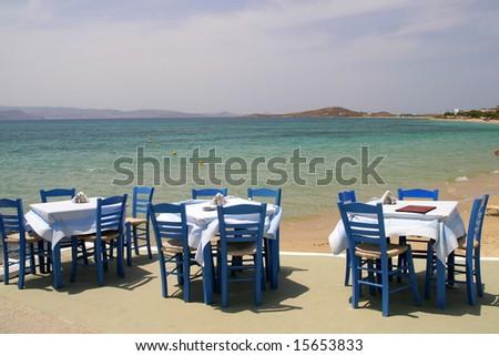 Greek tavern by the sea, Naxos, Greece - stock photo