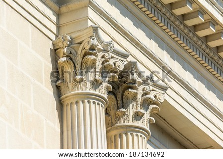 Greek Temple Ancient Stone Corinthian Columns - stock photo