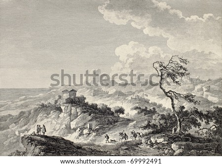 Greek temple in Agrigento surroundings, Sicily. By Chatelet and Couché, publ. on Voyage Pittoresque de Naples et de Sicilie,  J. C. R. de Saint Non, Impr. de Clousier, Paris, 1786 - stock photo
