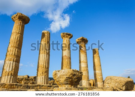 Greek temple in valley of temples in Sicily. - stock photo