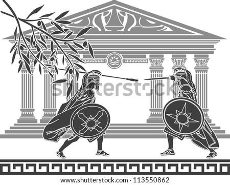 greek warriors and temple. stencil. raster variant - stock photo