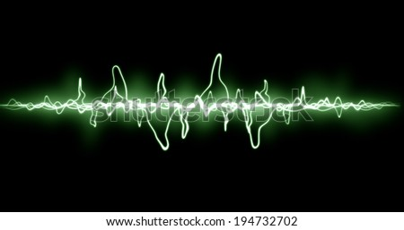Green abstract background with neon light curved lines, isolated on black.