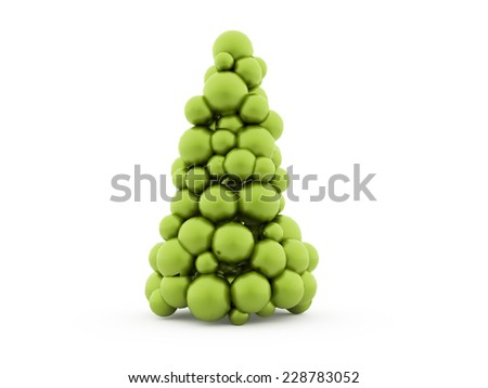 Green abstract christmas tree isolated on white background - stock photo