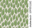 Green abstract leaf seamless pattern on recycle ecology paper texture, raster version, vector file available in portfolio. - stock photo