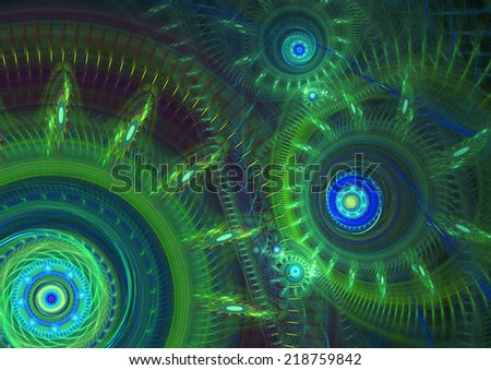 Green abstract mechanical background - stock photo