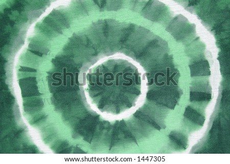 Green abstract on tie dyed cotton fabric 2 of 5 colors - stock photo