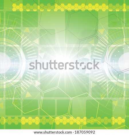 Green abstract tech background on black background  - stock photo