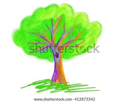 Green abstract tree  - stock photo