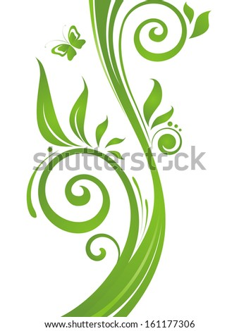 Green abstract tree. Raster copy - stock photo