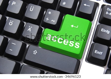 green access button on a computer keyboard - stock photo