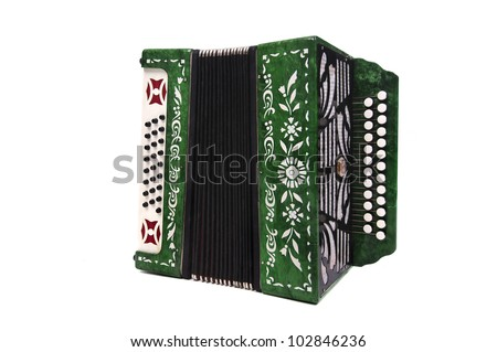 Green accordion isolated in white - stock photo