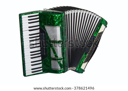 green accordion isolated on white background - stock photo