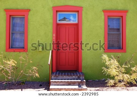 Green Adobe in Barrio District, Tucson, Arizona - stock photo