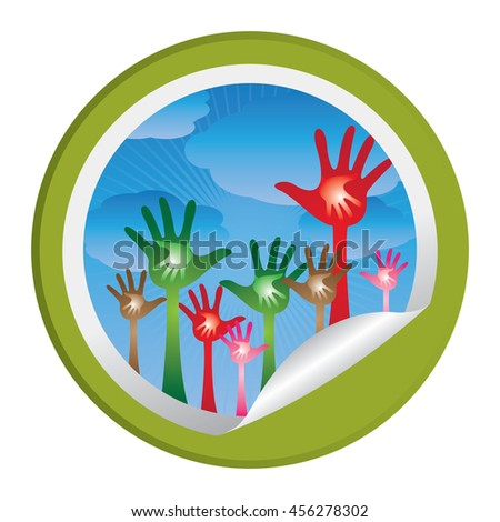 Green Adult Raised Hands With Children Hand Inside Infographics Icon on Circle Peeling Sticker Isolated on White Background  - stock photo