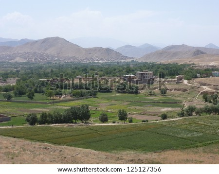 Green agricultural landscape of southern Kabul, Afghanistan