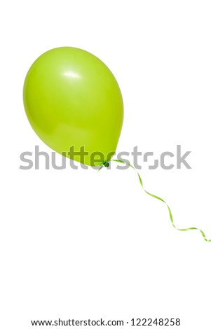 Green air flying ball isolated on white