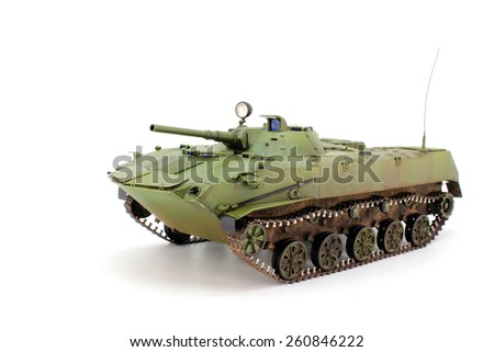 Green airborne combat vehicle on a white background