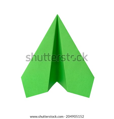 Green airplane made of paper - stock photo