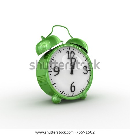 Green alarm clock - stock photo