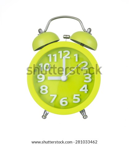 Green alarm clock isolated on white background. - stock photo